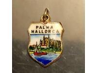 Vintage Silver Charm Palma Mallorca Enamelled Travel Shield Country Emblem 1cm Height