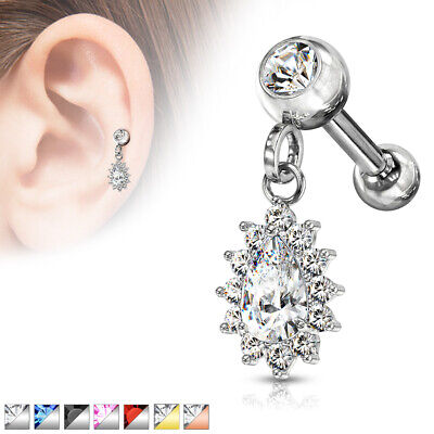 1pc CZ Gem Pear Dangle Surgical Steel Tragus Cartilage Barbell Ring 16g 1/4 Gold Pear Barbell