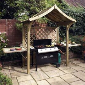 Rowlinson Party BBQ Arbour Fold Away Seat 2 Side Panel Tables and Covered Roof