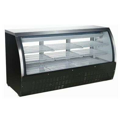 Black 82 Curved Glass Refrigerated Deli Case Meat Seafood Cheese Display