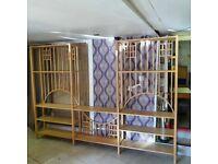Large Modern Wooden Open Triple Free Standing Shelving Unit