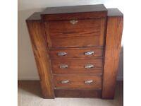 Antique oak bureau, 3 drawers, bookcase shelves both sides