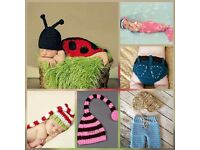 Baby Crochet Photography Props Costumes Hats Beanie Booties Shoes Sandals