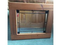 Solid oak hall mirror 27 inched by 23 1/2 inches excellent condition £30 .
