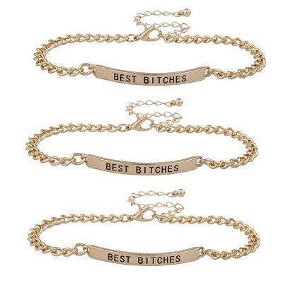Lux Accessories Gold Tone Best Bitches BFF Best Friend ID Bracelet