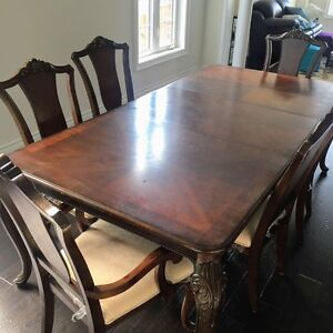 7 pc solid wood dining table set