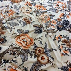 Vintage Orange floral curtains