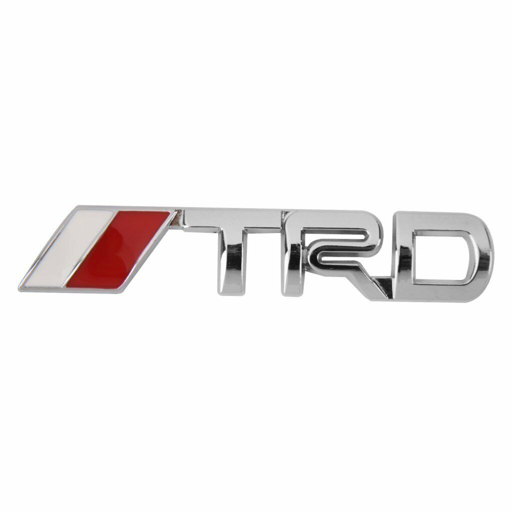 3D Metal Silver TRD Front Grille Badge Decal Sticker Emblem Car Logo For Toyota