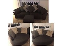 Fabric 4 seater sofa, snuggle chair and storage puffy.