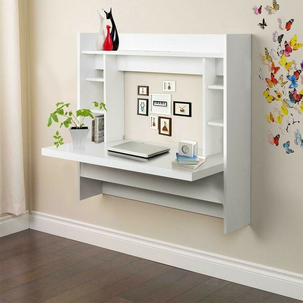 Floating Wall Mount Laptop Shelf Computer Desk Workstation Table Home Office US