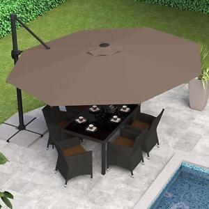 CorLiving PPU-520-U Deluxe Offset Patio Umbrella in Sandy Brown