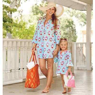 Mud Pie Kelli FLAMINGO Pom Pom Cover Up Tunic Dress Adult Mommy & Mini Me - Pom Pom Girl Dress Up