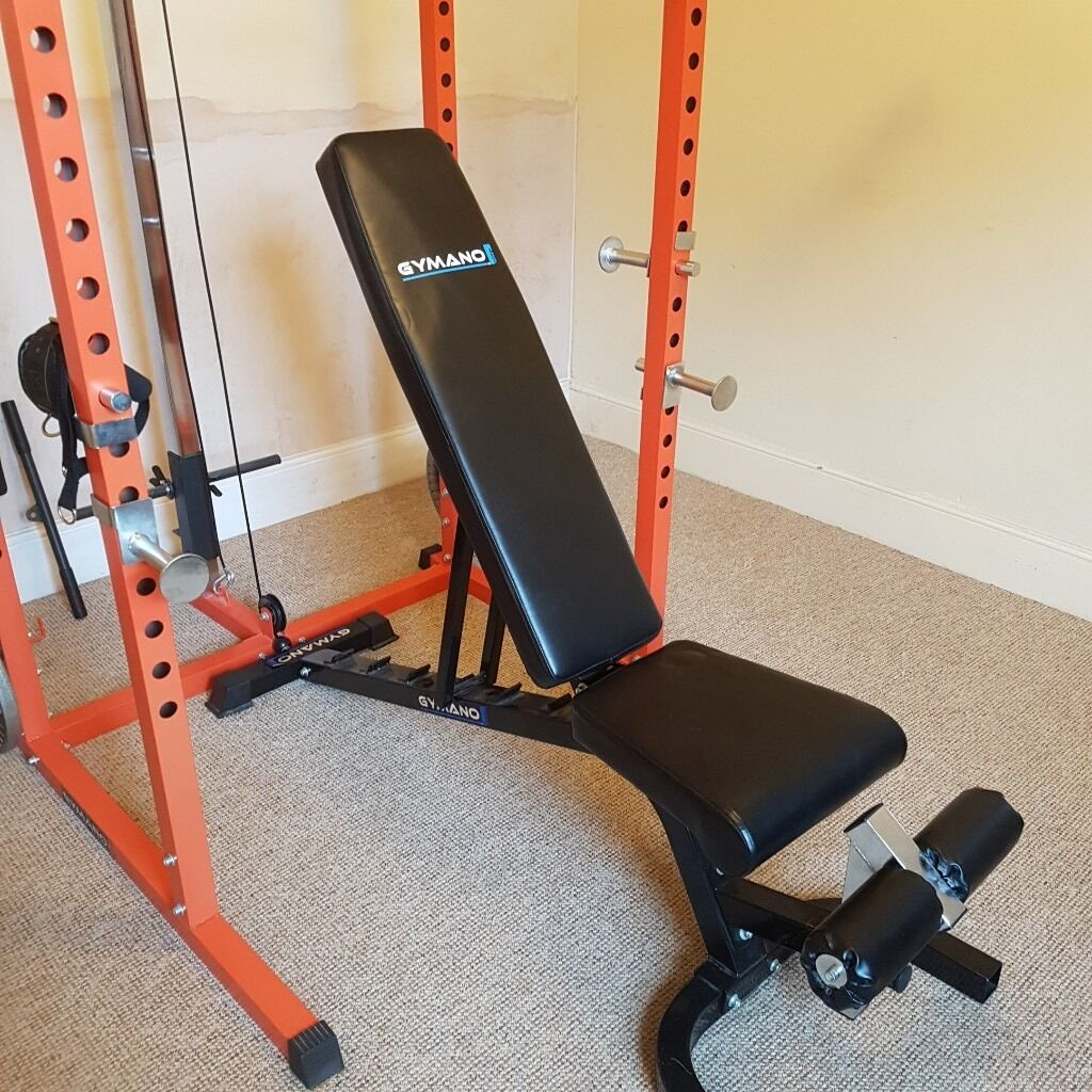 Power Rack With Weights: GYMANO Elite Power Rack Squat Cage With Cable Pulley