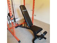GYMANO elite power rack squat cage with cable pulley, bench and olympic bar and weights
