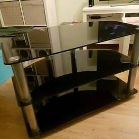 Black & Silver Glass TV Stand