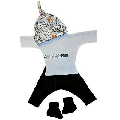 Silly Spider Webs 4 Piece Baby Halloween Clothing - 4 Preemie and Newborn Sizes