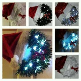 Santa claus or Grinch tinsel wreath with lights