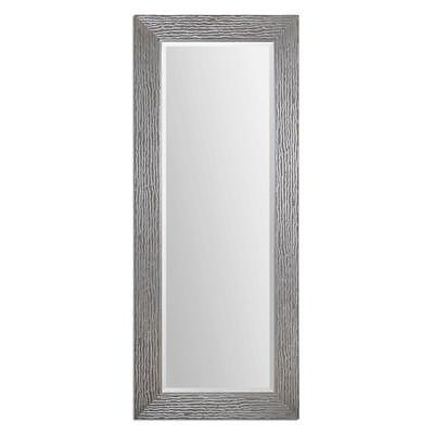 "Contemporary 82"" TEXTURED SILVER Oversize Wall Mirror Full L"