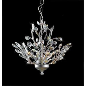Holly 4-light Silver and Crystal Leaves Chandelier Model B803-CI-374