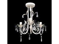 Crystal Pendant Ceiling Lamp Chandelier Elegant White-240686