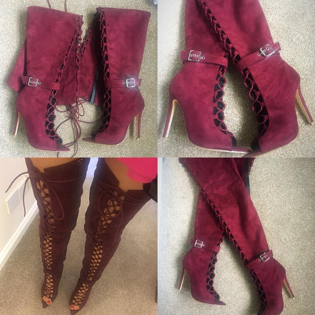 Lace-Up Velvet Boots
