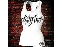DIRTY INC ladies racer back tank top