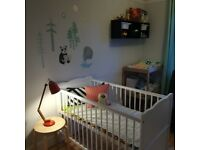 Cot, mattress and changing table