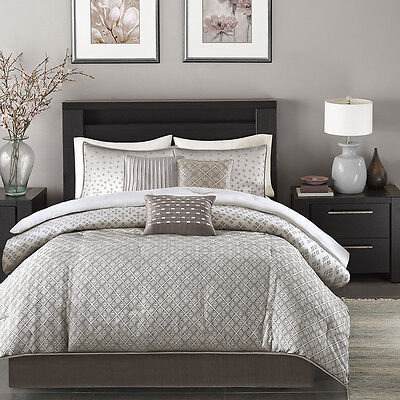 BEAUTIFUL MODERN CONTEMPORARY DESIGN CHIC SILVER GREY COMFORTER SET & -