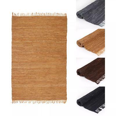 Hand Gewebt Leder (vidaXL Teppich Chindi Leder Handgewebt Lederteppich Webteppich mehrere Auswahl)