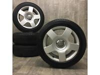 16 genuine audi a4 alloy wheels & winter tyres m+s vw caddy a3 seat leon skoda 5/112