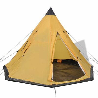 vidaXL 4-person Tent Yellow 2 Windows Outdoor Camping Hiking Traveling Shelter