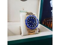 Gold Blue Bezel Blue Face Rolex Submariner Comes Rolex Bagged and Boxed with Paperwork