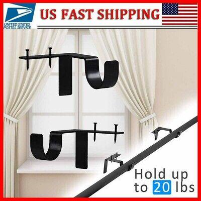 2x Bracket Hang Curtain Rod Holders Single hook Tap Right Into Window Frame Rod