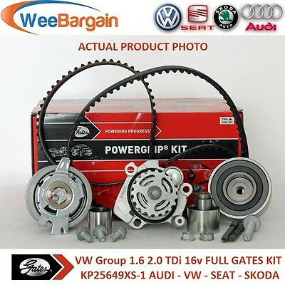 AUDI VW SEAT SKODA 1.6 2.0 TDI 16v GATES KP25649XS-1 Timing Belt Kit Water Pump
