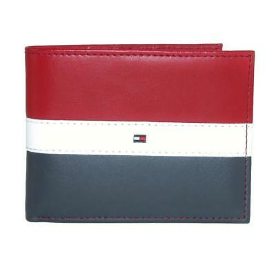 Tommy Hilfiger Men's Leather Wallet - RFID Blocking Slim Thin Bifold with Removable Card Holder and Gift Box, Red/Navy
