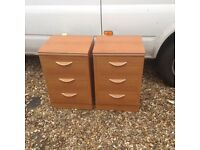 Pair Alstons 3 draw bedside chests