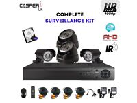 Complete CCTV Security kit HD 4CH DVR 1080p Bullet/Dome Cameras IR In/Outdoor