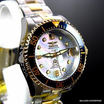 Invicta 2 Tone Grand Diver Automatic Diamond Ltd Edition Platinum MOP Watch New