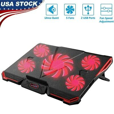 Game LED 5-Fan Advanced Laptop Notebook Cooler Cooling Pad Stand Dual USB Red