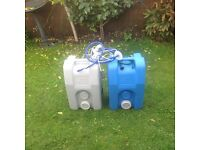 grey water tank and fresh water tank with 12 volt water pump