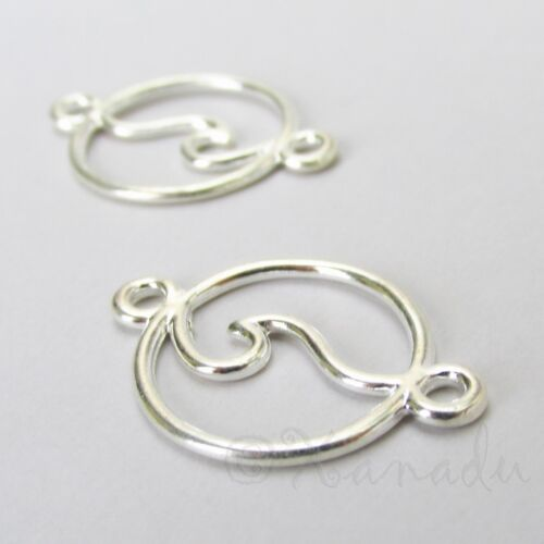 Ocean Wave Charms 28mm Silver Plated Connector Pendants C0799 - 5, 10, 20PCs