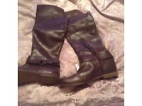 Ladies brown real leather boots 6