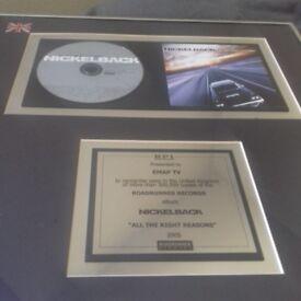 Framed nickelback album award