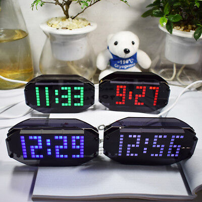 Diy Black Mirror Led Matrix Desktop Alarm Clock Kit With Temperature Display