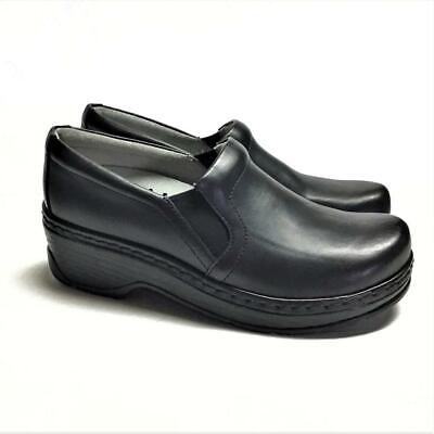 NEW Klogs Naples Women 11 Closed Back Clogs Black Smooth Leather Slip On