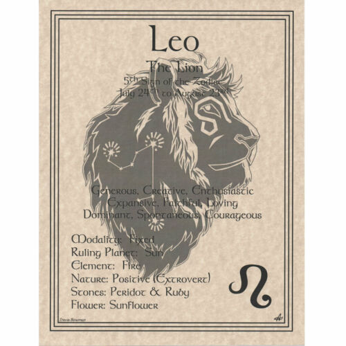 """Leo Zodiac Sign Poster 8.5 x 11"""" Parchment Print Page Star Sign Astrology"""