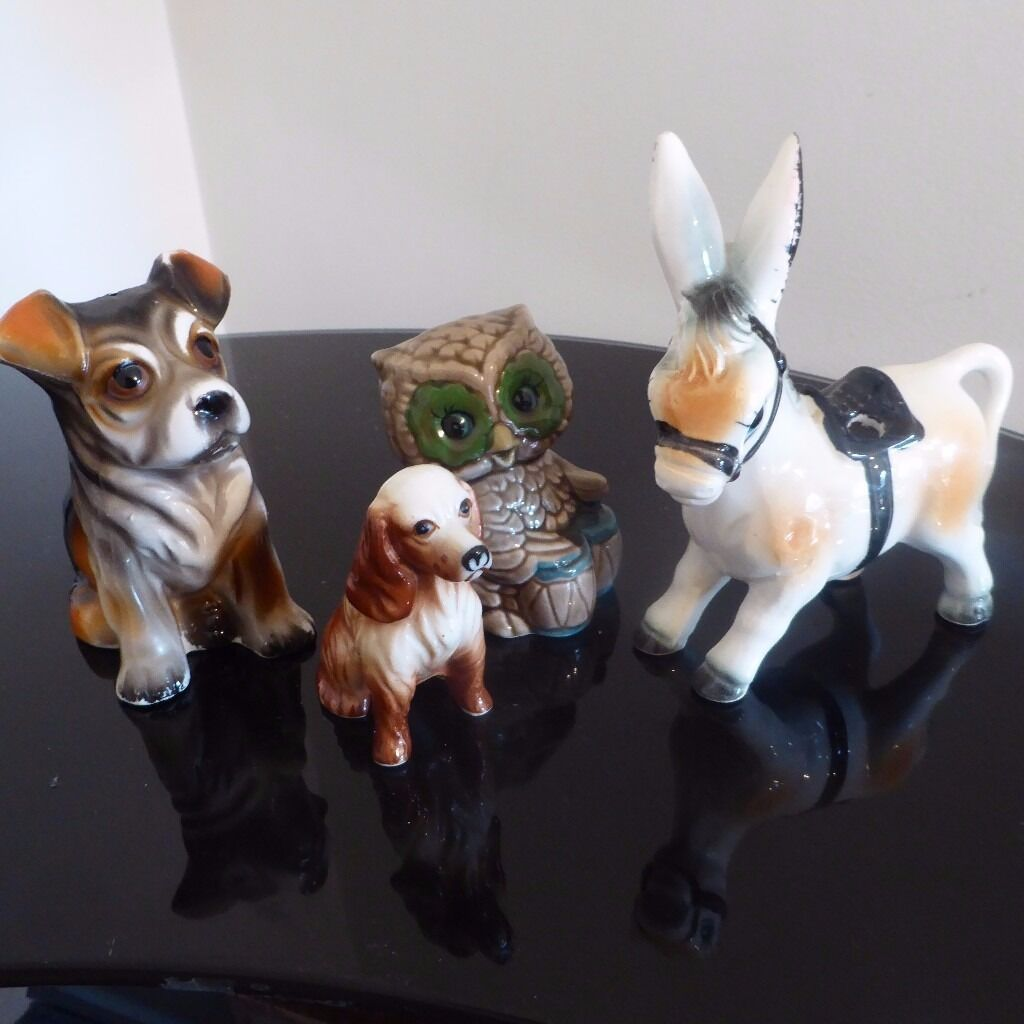 Donkey ornaments - Selection Of Vintage Animal Ornaments Inc Dogs Owl And Donkey