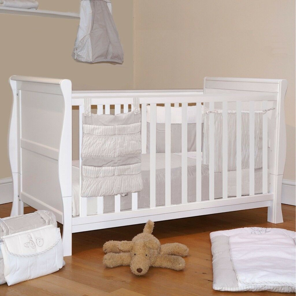 4baby 3 In 1 Sleigh Cot Bed White To Toddler