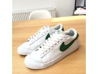 Mens Nike Blazer Low White/Classic Green Leather Trainers - UK 7 - Lightly Worn
