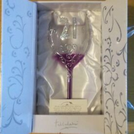 21st Birthday - Hand Decorated Wine Glass with Gift Box